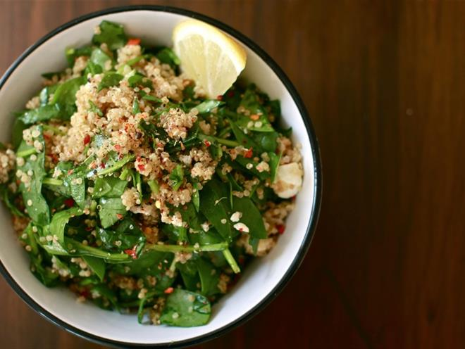 Quinoa, Spinach And Feta Bourek Salad - foodonomy